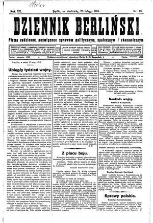 Dziennik Berliński vom 28.02.1915