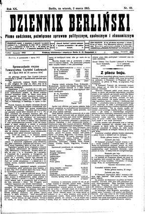 Dziennik Berliński vom 02.03.1915