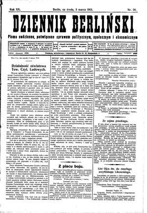 Dziennik Berliński vom 03.03.1915
