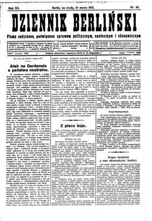 Dziennik Berliński vom 10.03.1915