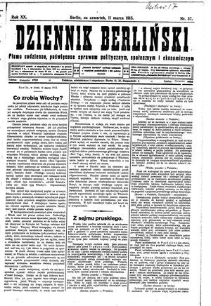 Dziennik Berliński on Mar 11, 1915