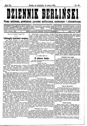 Dziennik Berliński vom 14.03.1915