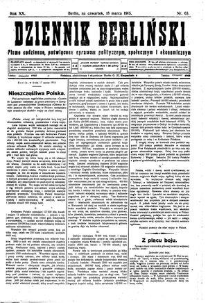 Dziennik Berliński vom 18.03.1915