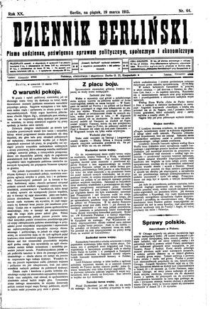 Dziennik Berliński on Mar 19, 1915