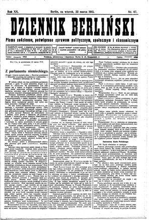 Dziennik Berliński vom 23.03.1915