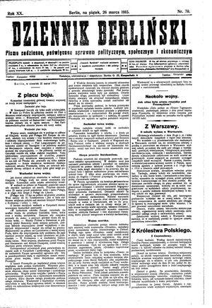 Dziennik Berliński vom 26.03.1915