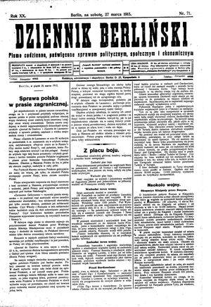 Dziennik Berliński vom 27.03.1915