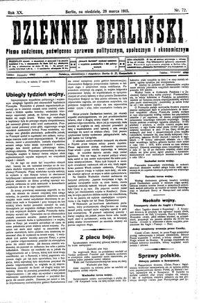 Dziennik Berliński vom 28.03.1915