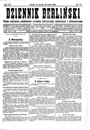Dziennik Berliński on Mar 30, 1915