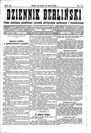 Dziennik Berliński vom 31.03.1915