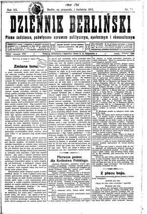 Dziennik Berliński vom 01.04.1915