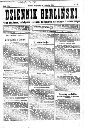 Dziennik Berliński vom 09.04.1915