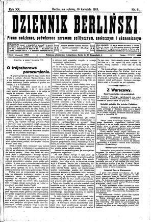 Dziennik Berliński vom 10.04.1915