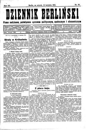 Dziennik Berliński on Apr 13, 1915