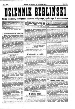 Dziennik Berliński vom 14.04.1915