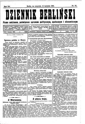 Dziennik Berliński vom 15.04.1915