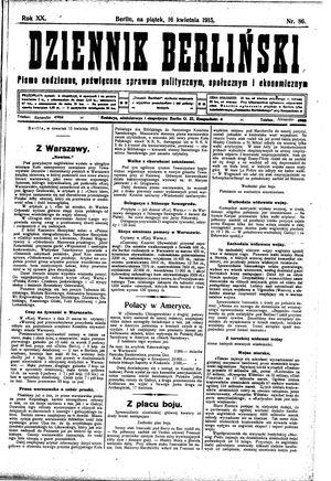 Dziennik Berliński vom 16.04.1915