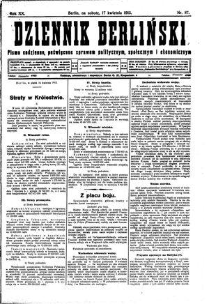 Dziennik Berliński vom 17.04.1915