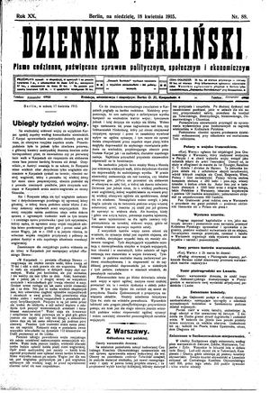Dziennik Berliński on Apr 18, 1915