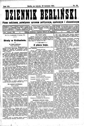 Dziennik Berliński vom 20.04.1915