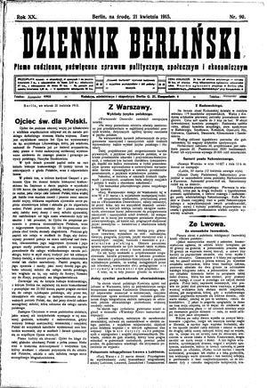 Dziennik Berliński vom 21.04.1915