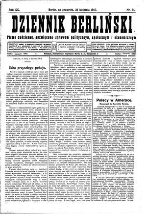 Dziennik Berliński vom 22.04.1915