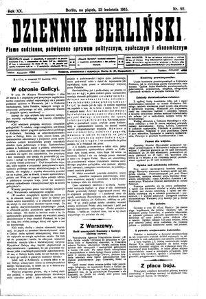 Dziennik Berliński vom 23.04.1915