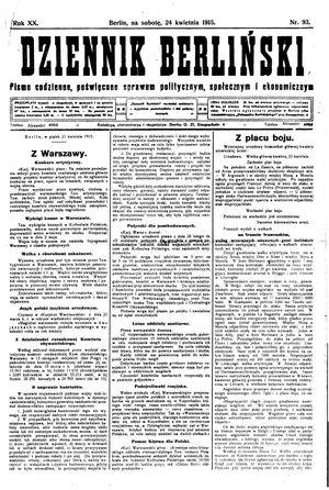 Dziennik Berliński vom 24.04.1915