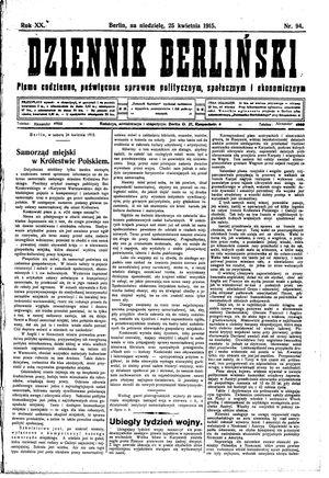 Dziennik Berliński vom 25.04.1915