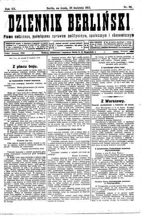 Dziennik Berliński vom 28.04.1915