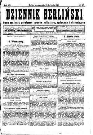 Dziennik Berliński vom 29.04.1915