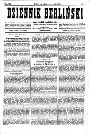 Dziennik Berliński vom 08.01.1916