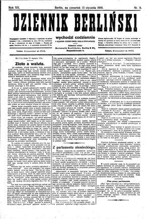 Dziennik Berliński vom 13.01.1916