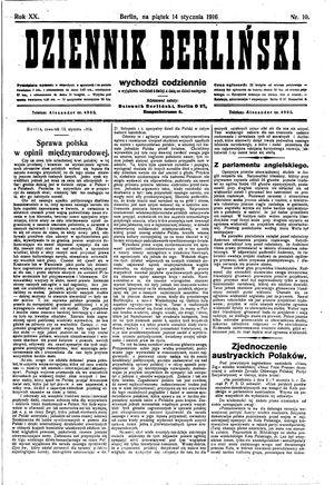 Dziennik Berliński vom 14.01.1916