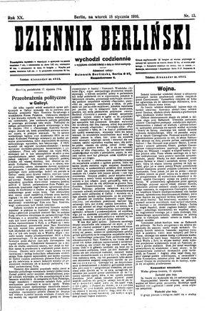 Dziennik Berliński vom 18.01.1916