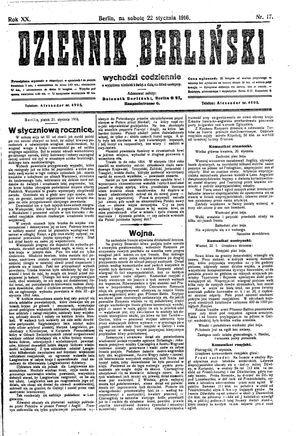 Dziennik Berliński vom 22.01.1916