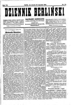 Dziennik Berliński vom 25.01.1916