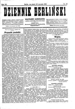 Dziennik Berliński vom 28.01.1916