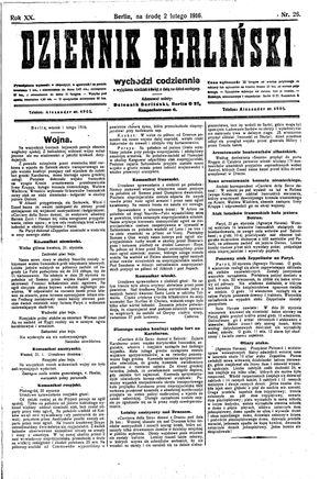 Dziennik Berliński vom 02.02.1916