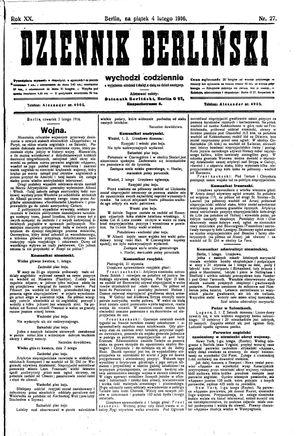 Dziennik Berliński vom 04.02.1916