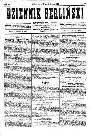 Dziennik Berliński vom 06.02.1916