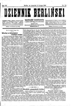 Dziennik Berliński vom 10.02.1916