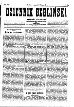 Dziennik Berliński vom 11.02.1916