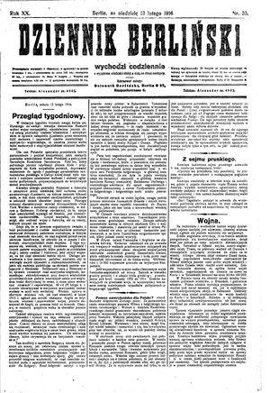 Dziennik Berliński vom 13.02.1916