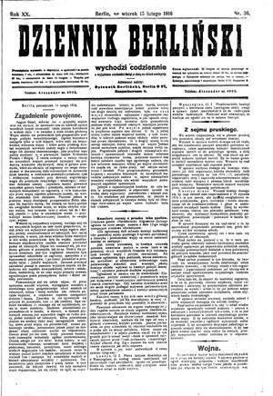 Dziennik Berliński on Feb 15, 1916