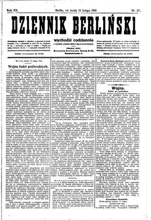 Dziennik Berliński vom 16.02.1916