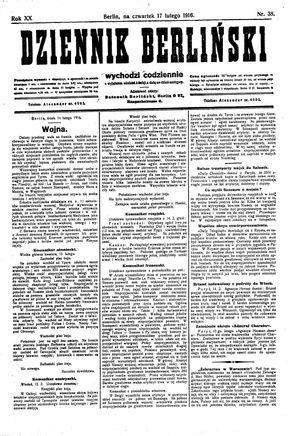 Dziennik Berliński vom 17.02.1916