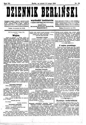 Dziennik Berliński vom 18.02.1916