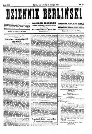 Dziennik Berliński vom 19.02.1916
