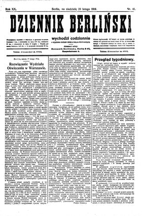 Dziennik Berliński vom 20.02.1916